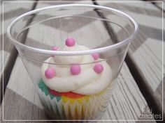 use disposable cups to wrap individual cupcakes
