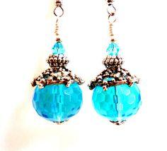 Aqua Earrings Topaz Glass Beaded Earrings Blue by Elegencebyelaine, $24.00