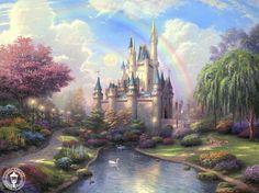 kinkad disney, disney princesses, dream castl, cinderella castl, disney art, disney castles, mural idea, wall mural, disney princess thomas kinkade