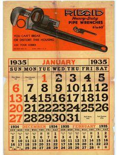 RIDGID Calendar: January 1935.  The first RIDGID calendar page!