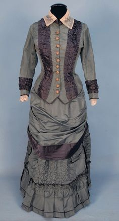 SILK BUSTLE DRESS, c. 1874.