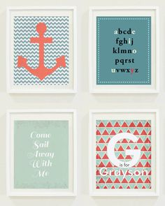Nursery Prints : Nautical - Anchor - Sail Away - Monogram - Ocean Set -Boys Room-Girls Room-Gender Neutral-New Baby Gift on Etsy, $15.00