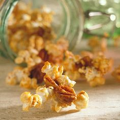 When you crave caramel popcorn, reach for this buttery-tasting treat with half the fat of old-fashioned caramel popcorn. What's the secret ingredient? Butterscotch pudding mix.