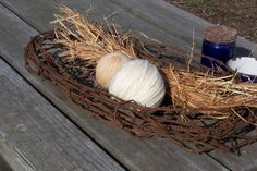 barbed wire basket for farmhouse or industrial decor