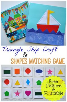 Learning about Shapes in Preschool--- Triangle Ship Craft and Shapes Matching Game from I Heart Crafty Things. Free Pattern & Printable in the blog post. #preschool #shapes #CreativePreschoolers
