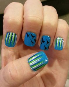 My nails for the 9-29-13 Seahawks game! GO HAWKS!!!! Win