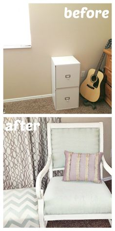 I've always wanted a small seating area in my bedroom! Bought a chair and ottoman at a garage sale and reupholstered. #HGTVHOMEmagic