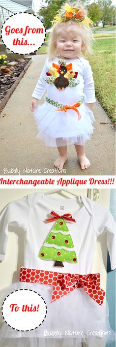 The Interchangeable Applique Dress!!!  Appliques can be replaced for every season or reason!  Cute!