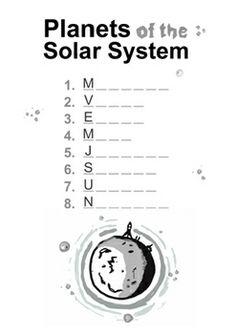 PLANETS AND NAMES WORKSHEETS ( SOLAR SYSTEM ) - TeachersPayTeachers.com ($1.50)