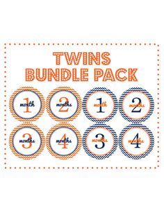 TWINS Bundle Pack for Baby Boys in Orange and Blue Chevron...Twins Baby Shower Gift...Twins Onesie Stickers on Etsy, $17.00