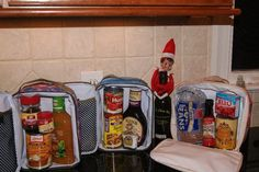 Elf packed random things from the pantry into the kids' lunches