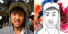 """Selfless Portraits project.    """"Join strangers accross the world drawing each other's Facebook profile pictures."""""""