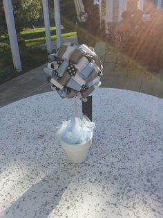 Ribbon Topiary Centerpiece in Baby Blue, Silver, Black and White Polkadot.