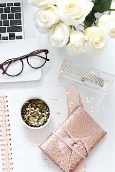 Pink & gold desk accessories