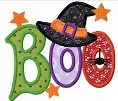 Halloween boo witch applique machine embroidery design