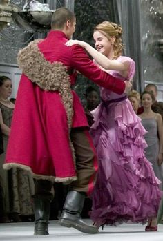 Viktor and Hermione. Her cinderella moment at the Yule Ball.