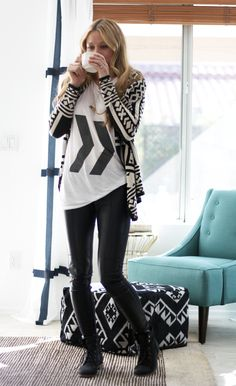 #GraphicTee & Patterned Cardigan!