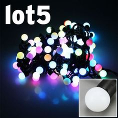 5x Christmas Light RGB 510M 8W 100LED Balls Fairy Light String Black String for Wedding Party Xmas Decoration Christmas Ornaments Waterproof outdoor IP65 by A1store by A1store. $161.36. 100LED Balls RGB Fairy Light String. Working Voltage: 110V ,Power: 8W , Plug Type: US standard. Waterproof: IP65. LED Qty: 100 LED bulbs, Ball Shape. Color: RGB, Black String. Application:  Market Engineering lighting, architectural decoration, decoration of trees along streets, parks, decoration,...