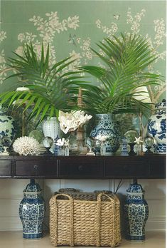 Beautiful table with ferns and blue antique vases