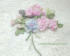 Ribbonwork Brooch Pin Pink Roses Ribbon Work by lambsandivydesigns, $36.95