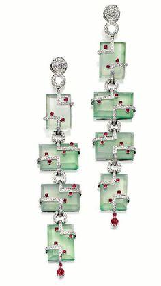 Jadeite, Ruby and Diamond Earrings