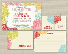 Printable Bridal Shower Invitation Party Pack - Retro Red, pink, gold and blue (PP01). $25.00, via Etsy.