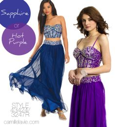 Camille La Vie Two Piece Corset Prom Dress in Blue and Purple