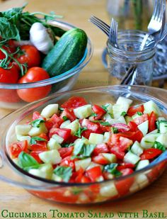 Cucumber Tomato Salad with Basil