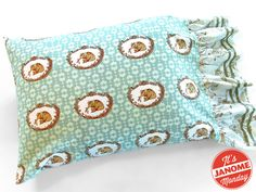 Janome Monday: Ruffled End Pillowcases with Decorative Stitch Ribbon Accents | Sew4Home