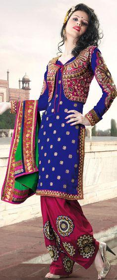 #Deep #Blue Designer Semi #Patiala #Suit for Punjabi