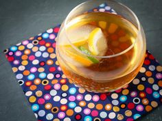 Bourbon Tea Punch with Citrus Ice Cubes from CookingChannelTV.com