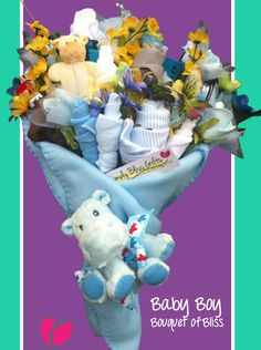 Medium Bouquet of Bliss – Baby Boy  •Two 100% Cotton Carter Bibs  •Eight Washcloths (varying colors to match bouquet)  •Hypo-Allergenic Adorable  Animal Pacifier Clip or Wrist Rattle  •One Pair of Socks  •Three 100% Cotton Carters Onsies (sizes vary between 0-3 and 3-6 months of age)  •Hypo-Allergenic Cute and Cuddly Baby Animal  •Soft Flannel Blanket    All these items are bundled together into one gorgeous unique bouquet of flowers!