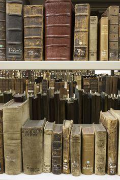 rare 17th  books on shelves, University of St Andrews,