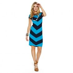 Day Dresses - Boatneck Chevron Knit Dress | C. Wonder
