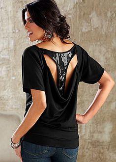 Black (BK) Sequin T-Back Top