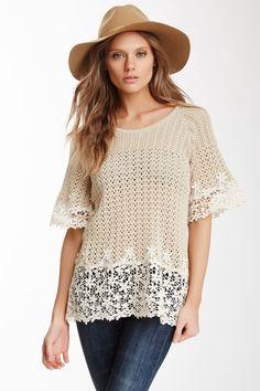 Lace Crochet Mix Sweater