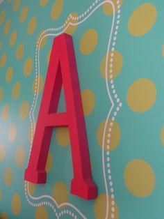 Monogram and Polka Dot Stenciled Wall - so fab! #biggirlroom