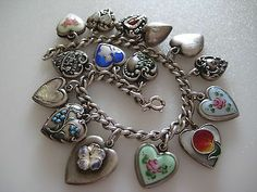 Antique Vintage Sterling Silver Puffed Heart 15 Charm Bracelet Enamel Ornate | eBay