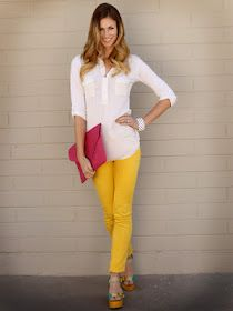 Colored pants, camp shirt and cute wedges = spring perfection!