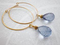 Blue Quartz Gold Hoop Earrings, Gold Dangle Earrings, Wedding Earrings, Bridal Jewlery, inv80 on Etsy, $72.25