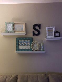 Floating shelves living room wall decor