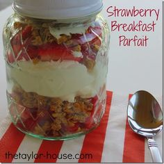 Strawberry Breakfast Parfait is fast and easy with only 3 ingredients.  You can grab n go and even eat it at work!!