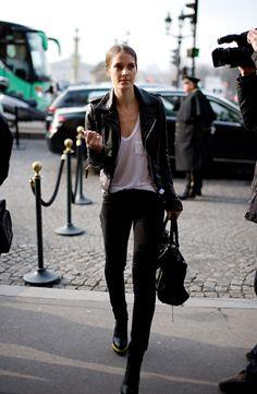 #white #tee #leather #jacket