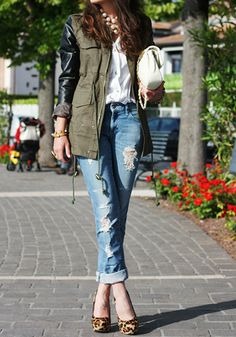 Army Green + Leather Sleeves Coat