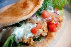 Mediterranean recipes for hummus, chicken shawarma, pita bread