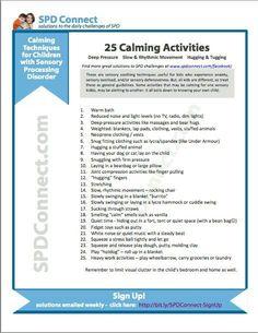Calming activities for SPD