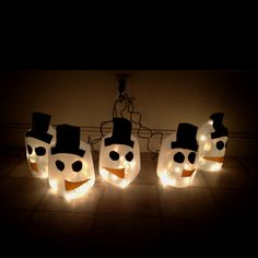 Snowman milk jug lights