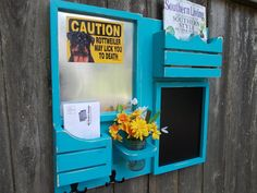 Large Chalkboard--Letter holder-Magazine Holder--Message Center--Mason Jar--Shabby Distressed