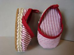 The espadrille shoes are made of the same striped fabric with jute braid and cork bottoms. Used Liberty Jane pattern