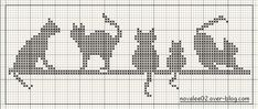 gatti punto croce craft, knit chart, crossstitch, broderi, chat, cross stitch patterns, knitting cats charts, cross stitches, bead loom patterns cats
